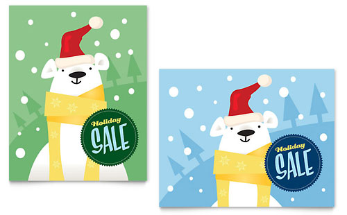 Santa Polar Bear Sale Poster Template - Microsoft Office