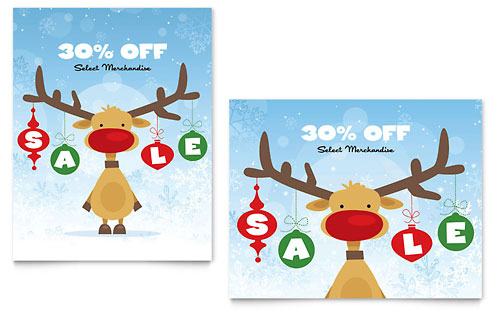 Reindeer Snowflakes Sale Poster Template - Microsoft Office