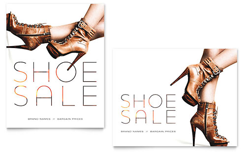 Designer Shoes Sale Poster Template - Microsoft Office