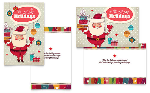 Retro Santa - Sample Greeting Card Template - Word & Publisher