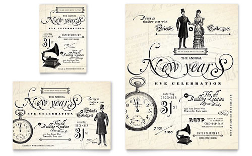 Vintage New Year's Party Flyer & Ad Template - Microsoft Office