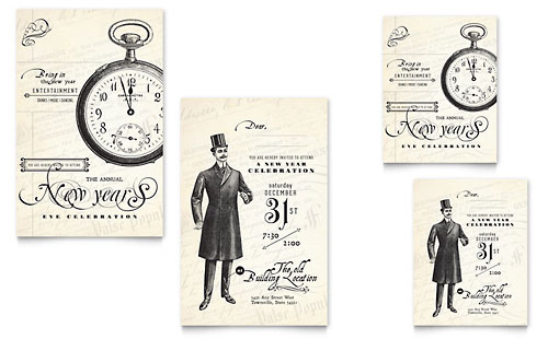 Vintage New Year's Party Note Card Template Design