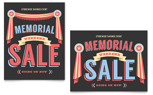 Memorial Day Sale Poster Template - Microsoft Office
