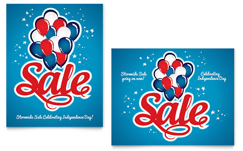 Celebration Balloons Sale Poster Template - Microsoft Office