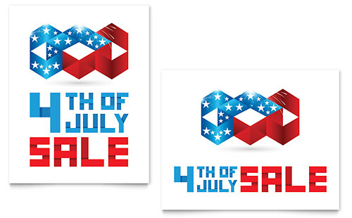 July 4th Patriotic Sale Poster Template - Microsoft Office