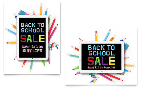 School Supplies Sale Poster Template - Microsoft Office