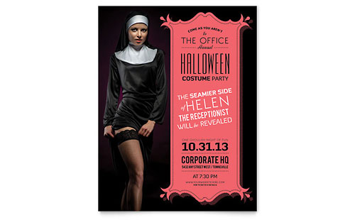 Halloween Costume Party Flyer Template Design