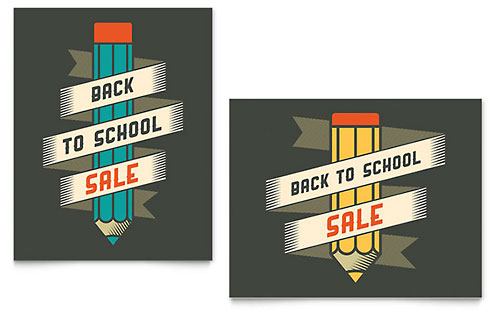 Back to School Supplies Sale Poster Template - Microsoft Office