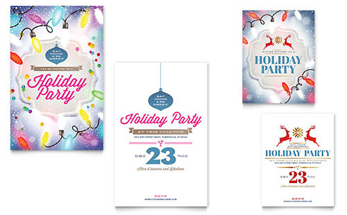 Holiday Party Note Card Template - Word