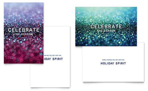 Glittering Celebration - Sample Greeting Card Template - Word & Publisher