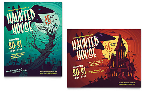 Haunted House Poster Template - Microsoft Office