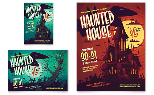 Haunted House Flyer & Ad Template - Microsoft Office