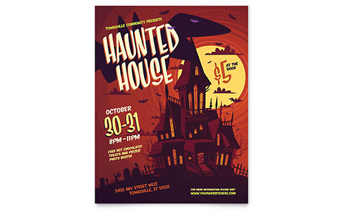 Haunted House Leaflet Template - Word & Publisher