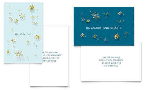 Golden Snowflakes - Sample Greeting Card Template - Word & Publisher