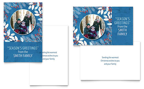 Family Portrait - Sample Greeting Card Template - Word & Publisher