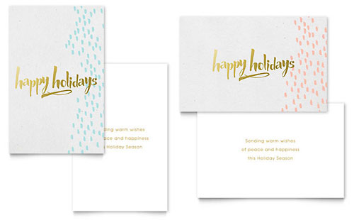 Elegant Gold Foil - Sample Greeting Card Template - Word & Publisher