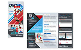 Volleyball Camp Tri Fold Brochure Template