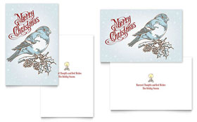 Vintage Bird Greeting Card Template