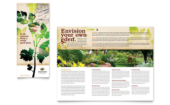 Landscape Design Tri Fold Brochure Template Word Publisher - Landscaping flyer templates