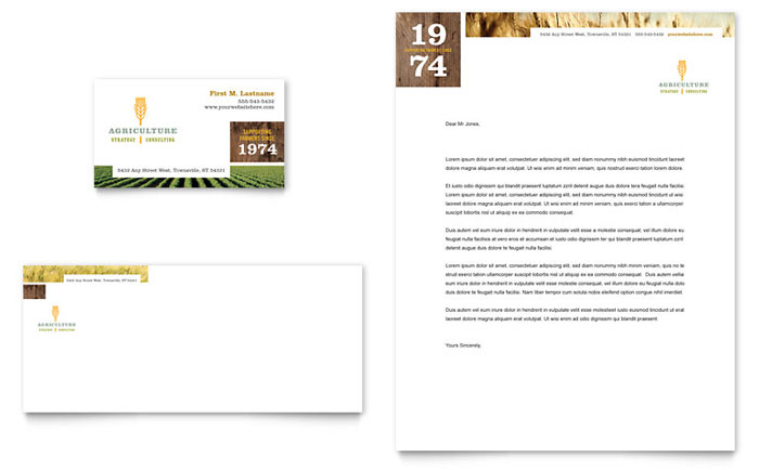 Farming & Agriculture Business Card & Letterhead Template Download - Word & Publisher - Microsoft Office