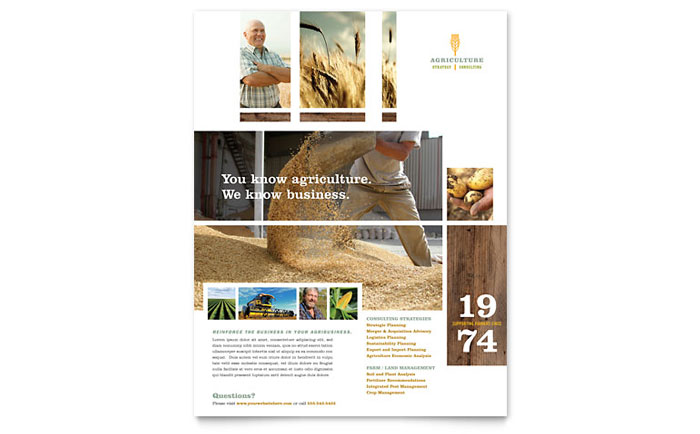 Farming agriculture flyer template word publisher for Agriculture brochure templates free