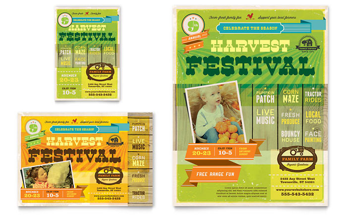 Harvest Festival Flyer & Ad Template - Word & Publisher