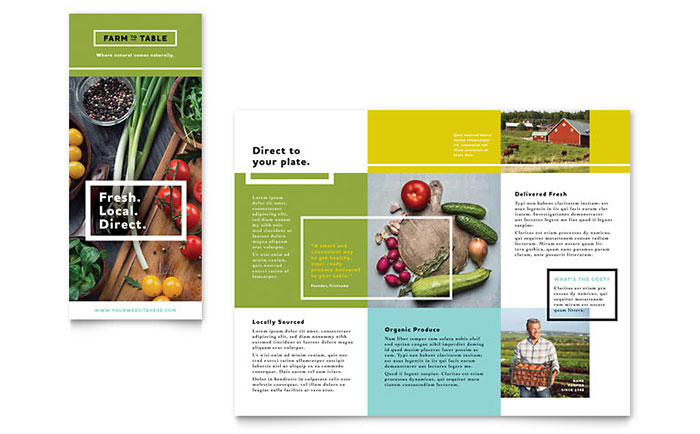 Organic food brochure template word publisher for Microsoft word templates brochure