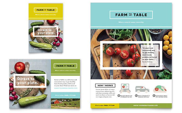 Organic Food Flyer & Ad Template - Word & Publisher