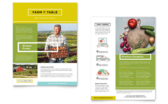 organic food datasheet template word publisher