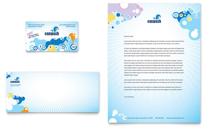 Car Wash Business Card & Letterhead Template - Word & Publisher
