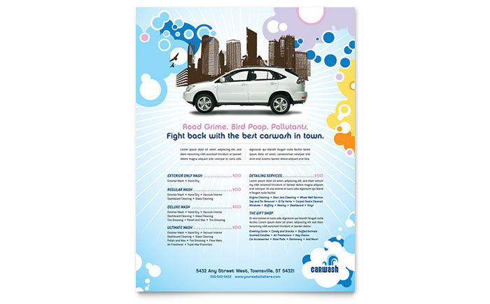 Car Wash Flyer Template Word Amp Publisher