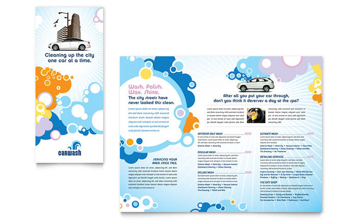 Car Wash Tri Fold Brochure Template Word Publisher - Tri fold school brochure template