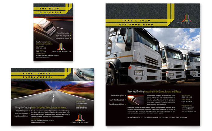 trucking  u0026 transport flyer  u0026 ad template