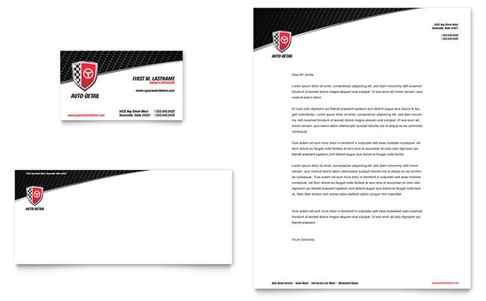 Auto detailing business card letterhead template word publisher reheart Gallery