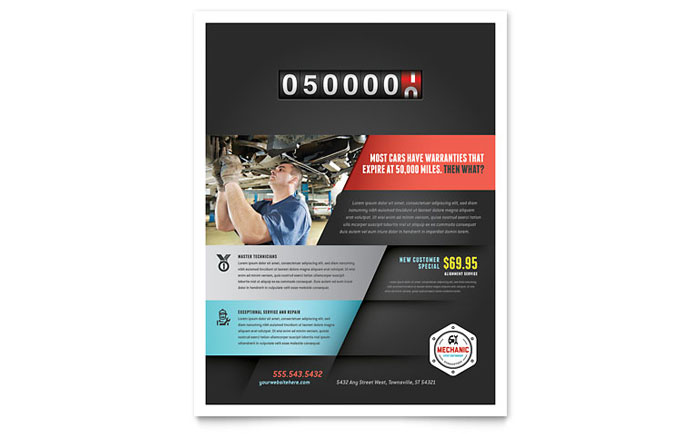 Auto Mechanic Flyer Template - Word & Publisher