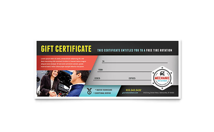 Auto Mechanic Gift Certificate Template - Word & Publisher