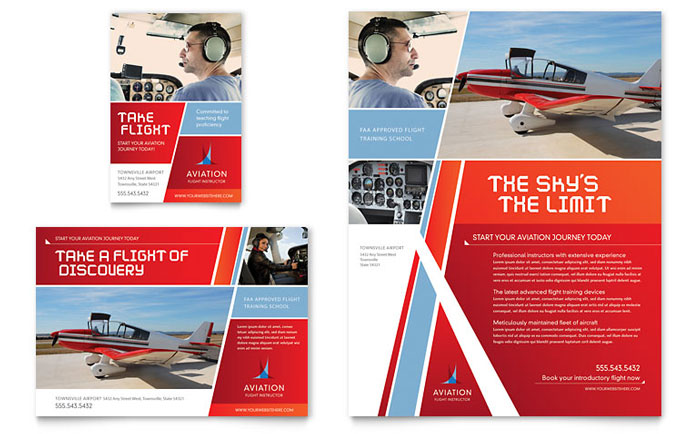 Aviation Flight Instructor Flyer  Ad Template  Word  Publisher