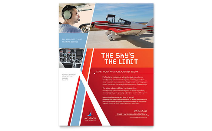 Aviation Flight Instructor Flyer Template Download - Word & Publisher - Microsoft Office
