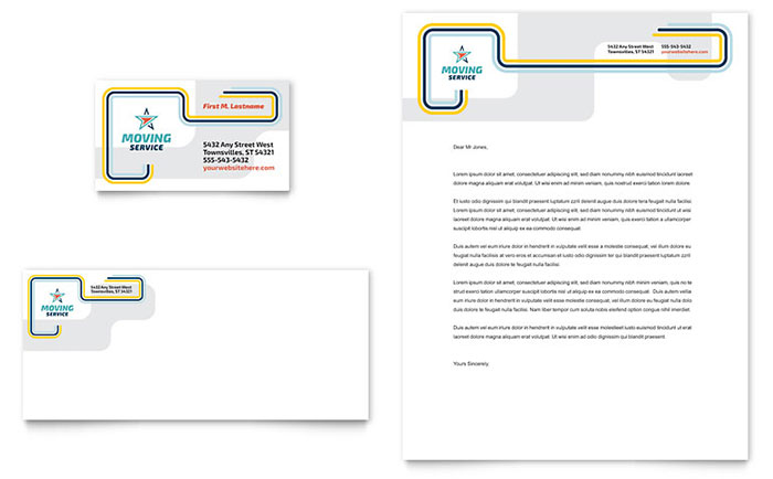 Moving Service Business Card & Letterhead Template - Word & Publisher