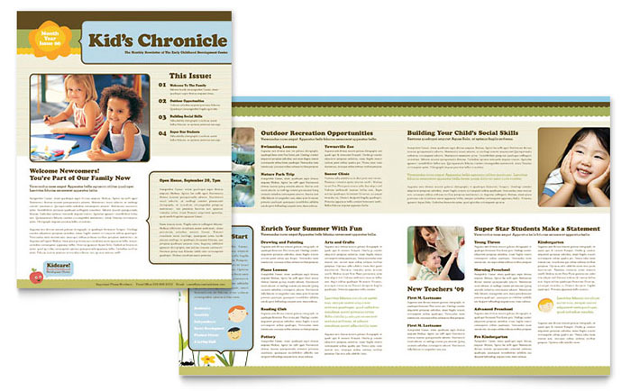 Child Development School Newsletter Template  Word  Publisher