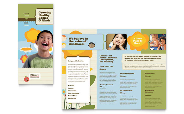 Child Development School Tri Fold Brochure Template Word Publisher - High school brochure template