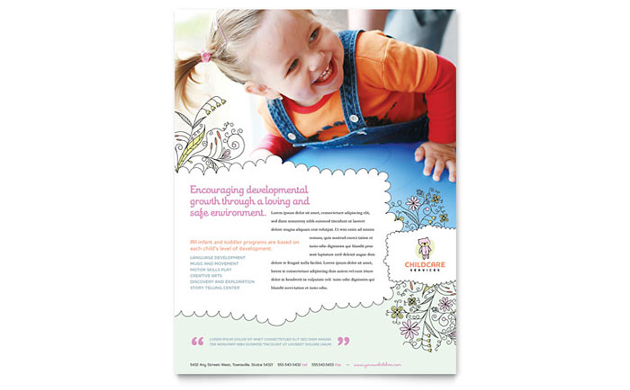 babysitting daycare flyer template word publisher