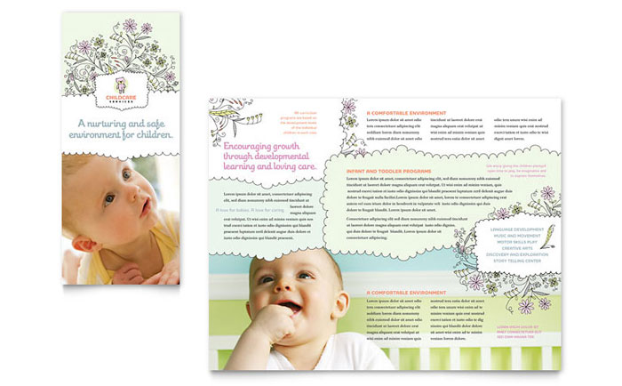 Babysitting daycare tri fold brochure template word for Childcare newsletter templates