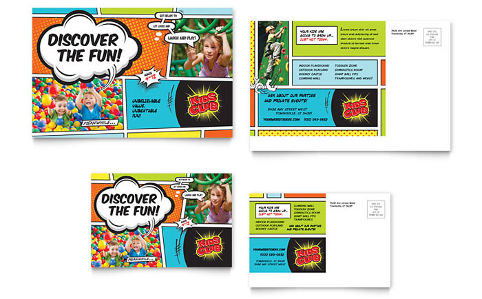 Kids Club Postcard Template Download - Word & Publisher - Microsoft Office