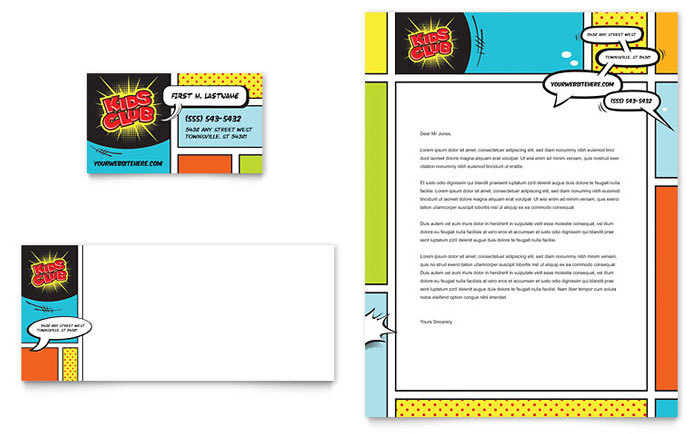 Kids Club Business Card & Letterhead Template - Word & Publisher