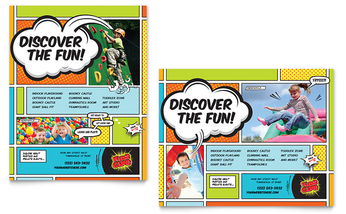 Kids Club Poster Template Word Amp Publisher