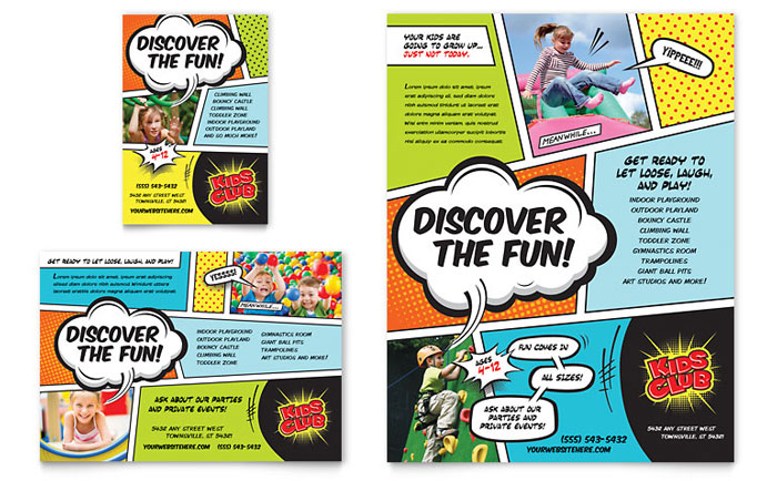 kids club flyer ad template word publisher