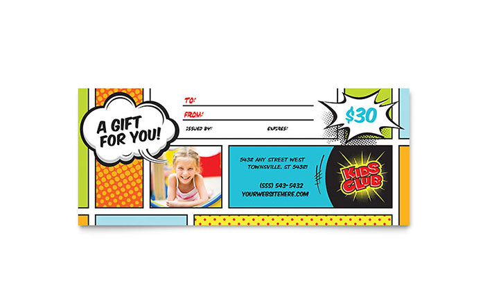 Kids club gift certificate template word publisher yadclub Images