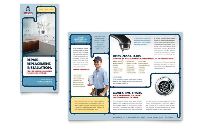 Plumbing Services Brochure Template  Word  Publisher