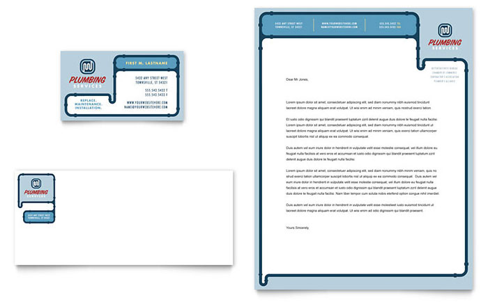 Plumbing Services Business Card & Letterhead Template - Word & Publisher
